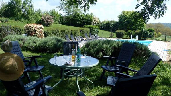 exterieur gite avec piscine et terrasse avec barbecue